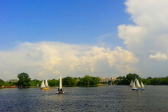 На  реке Мухавец в городе Брест.